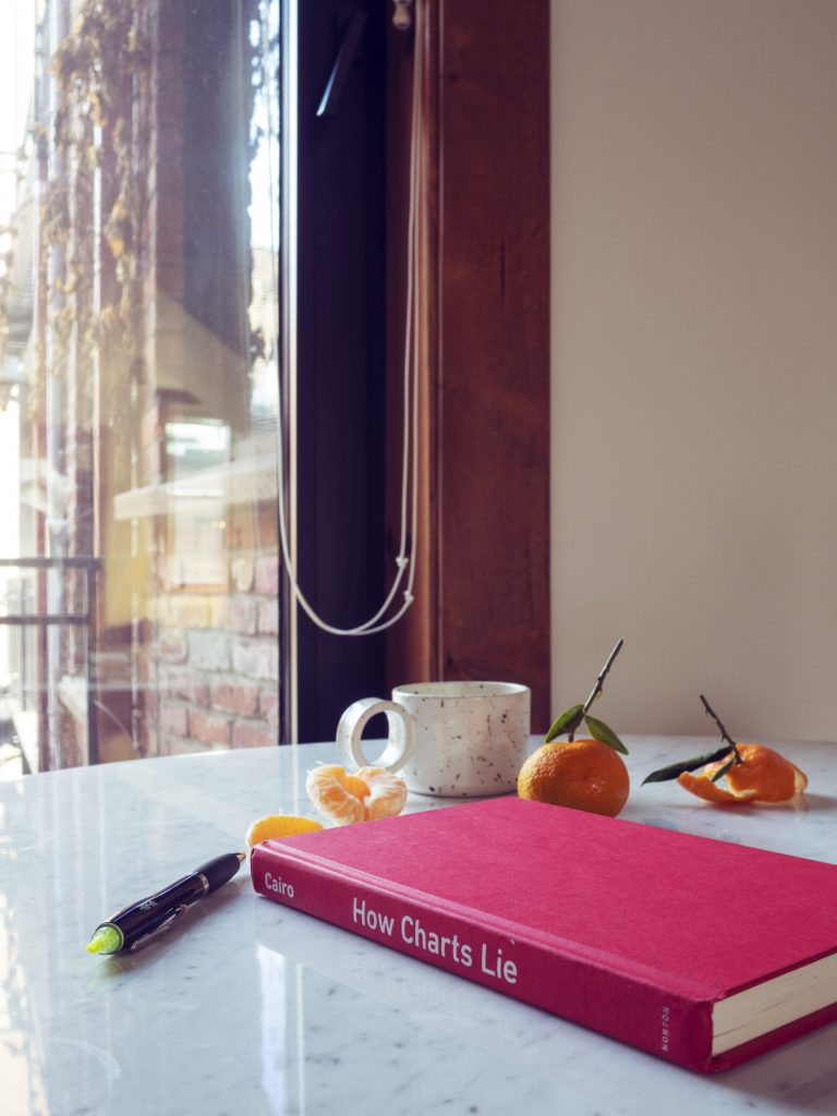 The book How Charts Lie in its red jacket, on a table, next to a cup of coffee, a pen, and clementines.