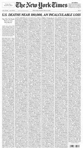 Couverture du New York Times le 24 mai 2020 avec les noms de 1000 victimes de la COVID-19.