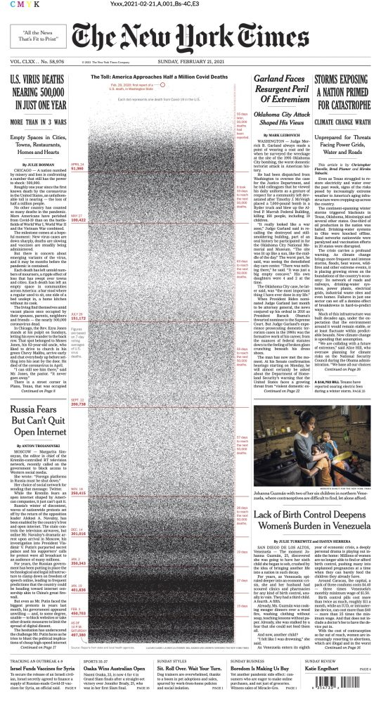 Front page of the New York Times on February 21, 2021. A column of dots occupy the middle of the page from top to bottom. It uses 500000 dots to represent the American victims of COVID-19. There are other news in the page.